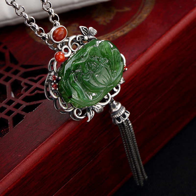 Pure Silver Inlay Hetian Jade Jade Restoring Ancient Ways South Onyx Lotus Flower Butterfly Tassel Pendant Wholesale stylish rhinestone faux gem inlay butterfly pendant embellished tassel scarf for women