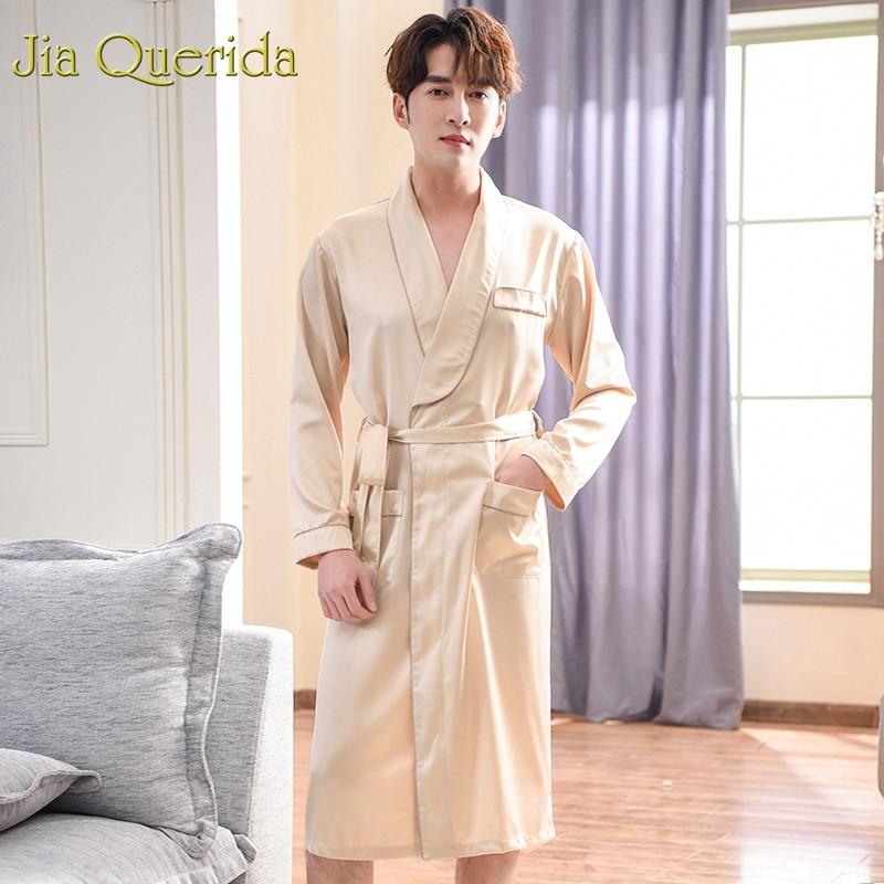 J&Q Silk Robe Men 2019 Fashion Mens Kimono Santin Bathrobes Solid Luxury Men Robe Long Sleeves Men Bath Robes Sleep Yukata Satin