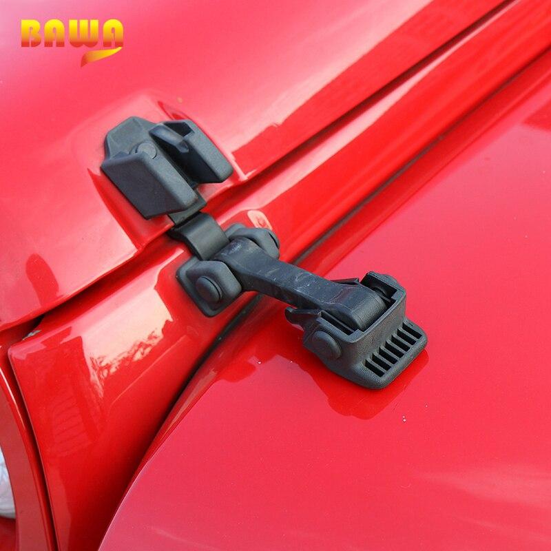 BAWA Motor Capotas Capô Trava para Jeep Wrangler 2007-2017 ABS Preto Original Capa de Bloqueio Para O Carro Jeep Wrangler fechaduras capô