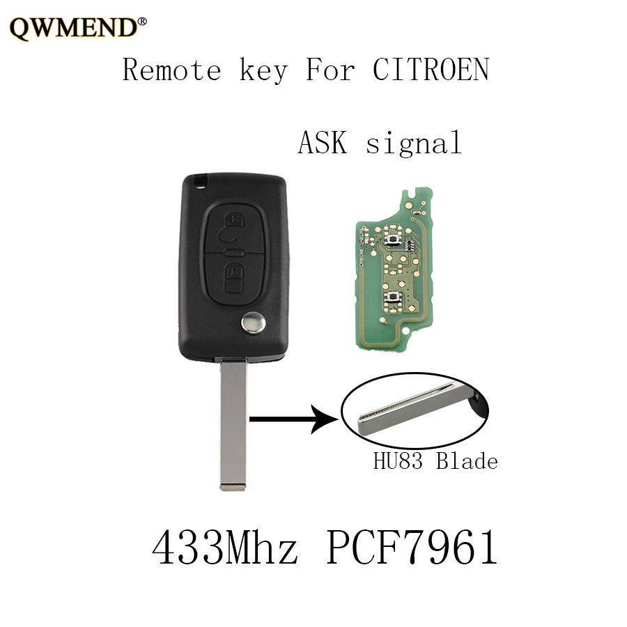 Car Flip Remote Key 3 Button Car Key For Citroen Peugeot Key Middle Button Light Ask 433mhz Va2 Pcf7941 Chip Elegant Shape Car Key