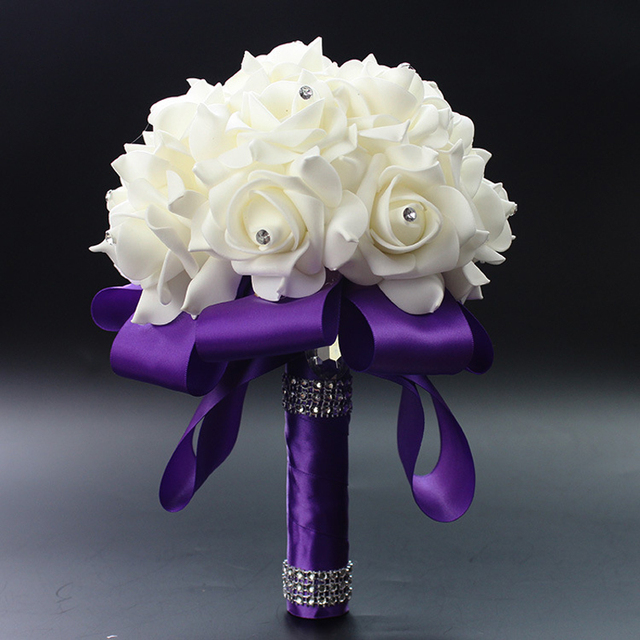 Wedding Bouquet Mariage Rose Flowers Crystal Bridal Bouquets 2017 In Stock Artificial Cheap Wedding Accessories