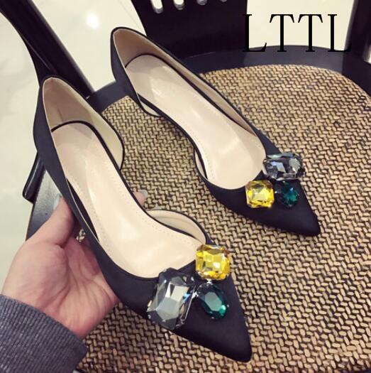 Luxury Branded Elegant Women Fashion Pointed Toe Colorful Crystal Spring Autumn Shallow Med Strange Heels Summer Women Pumps