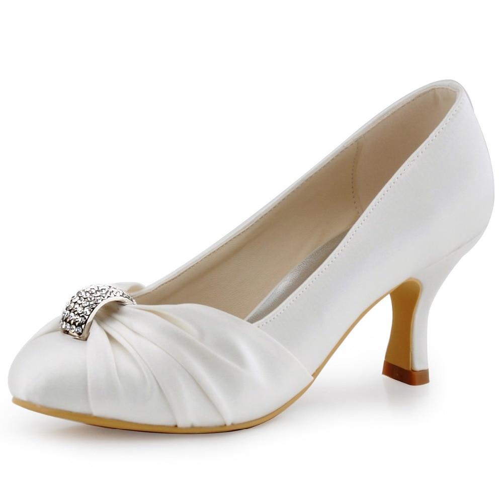 ФОТО D-HC1526 White Ivory Women Shoes Closed Toe Low Spool Heel Pumps Rhinestone Satin Bride Wedding Eveningh Party Dress Shoes
