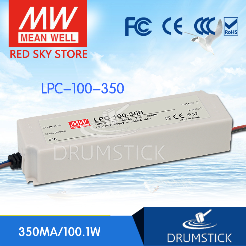 100% Original MEAN WELL LPC-100-350 286V 350mA meanwell LPC-100 286V 100.1W Single Output LED Switching Power Supply [Real5] 100