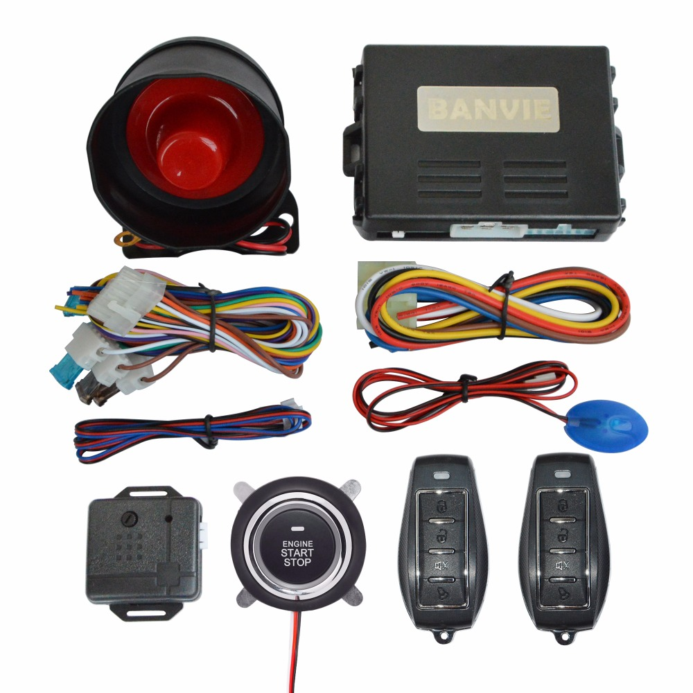 1 Way Car alarm system with remote engine start and push start stop button купить недорого в Москве