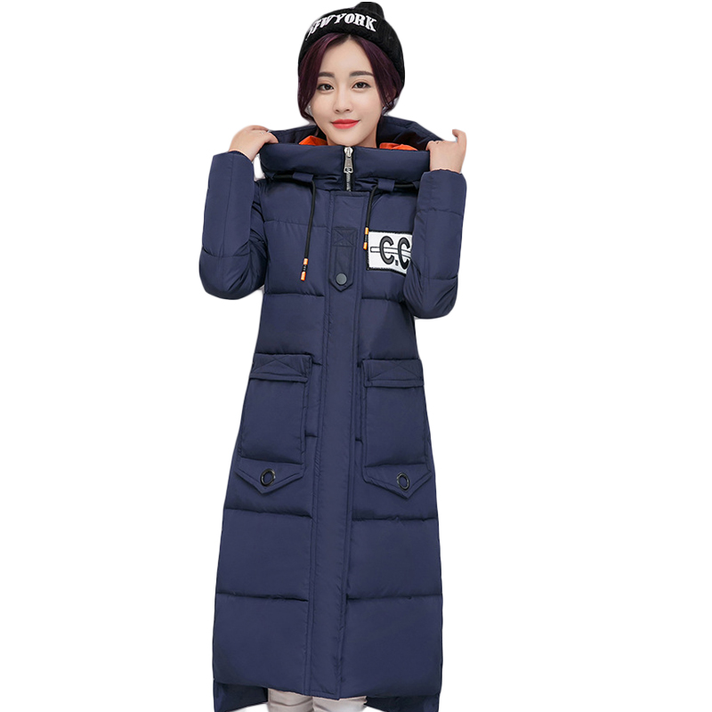 Fashion Women Winter Down Cotton Jacket Coat 2017 Female Hooded Long Slim Parkas Cotton-padded Outwear Plus Size Overcoat CM1641 wmwmnu women winter long parkas hooded slim jacket fashion women warm fur collar coat cotton padded female overcoat plus size