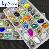 28pcs 18x11mm Sewing Glass Crystal Drop Rhinestones Sew On Loose Rhinestone With 2 Holes For Clothing