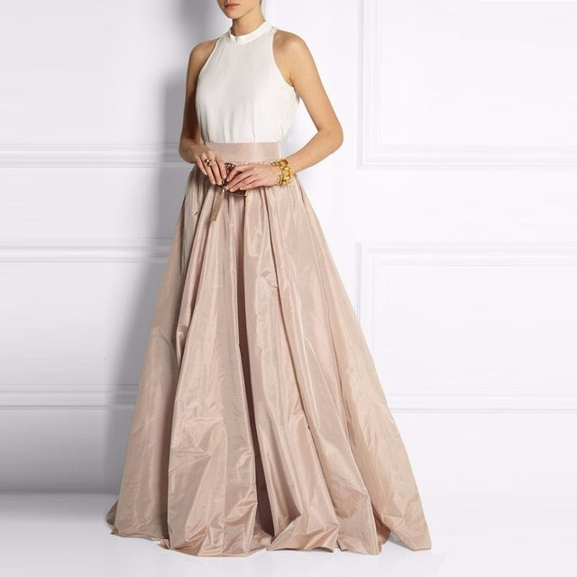 Online Shop Vintage Khaki Taffeta Floor Length Skirts For Lady To ...