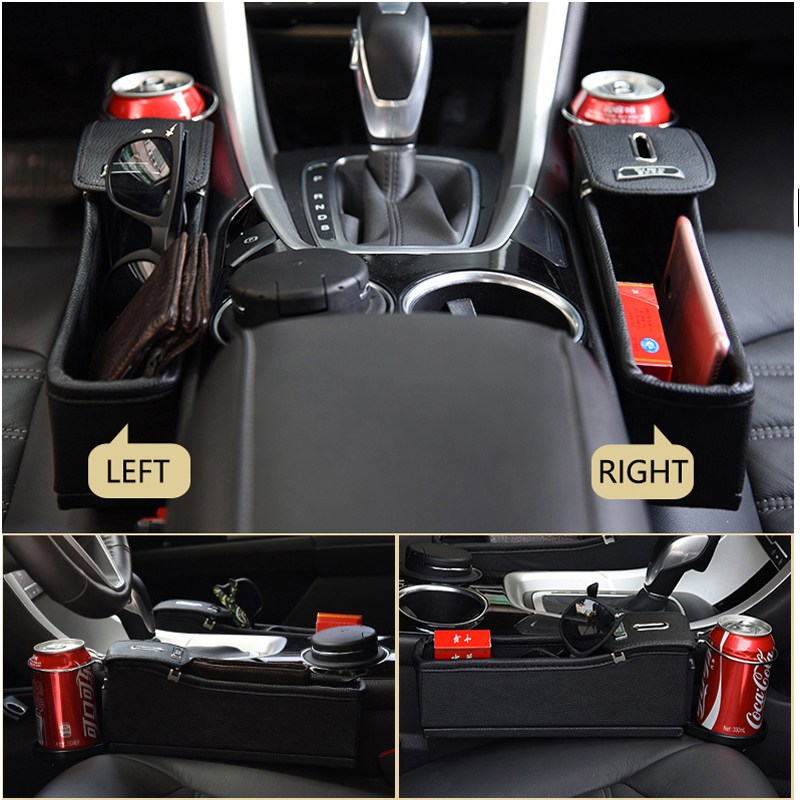 Left Car Seat Crevice Box Storage Cup Drink Holder Organizer Auto Pocket Leather