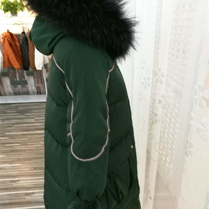 Femme Poches Tombantes À Lourds Vêtement Épaules Zx1087 Hiver Col Cheveux Décontracté Capuche Mode Femmes green Black Lacets Doudoune Lâche qXw0PI