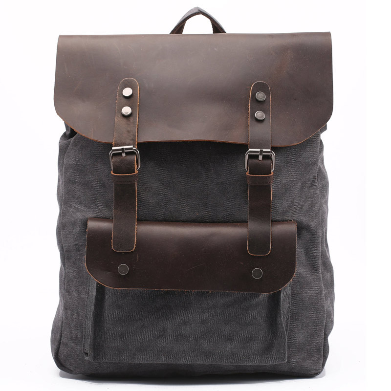 0c7b36a58 Men's Canvas Genuine Leather Real Cow Multi-Function Vintage Travel Backpack  Tote School Bag 14