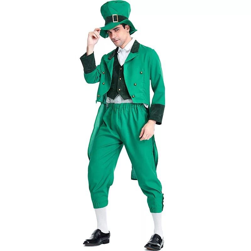 Adult Irish Family Group Leprechaun Costume Child St Patrick's Day Elf Outfit Fancy Clothes Hat Top Pants Suit For Men Kids Boys