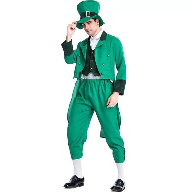 2d00ba6f33bb4 Adulto Traje Leprechaun Irlandês Grupo Familiar Criança St Patrick s Day  Outfit Fantasia Elf Chapéu Roupas Top