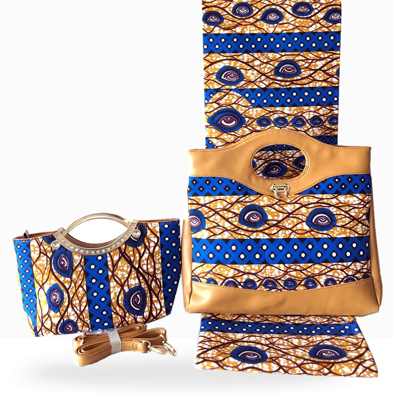 New Arrival Woman Handbag And 6Yards Fabirc To Match Set African Cotton Wax Fabric And Bag