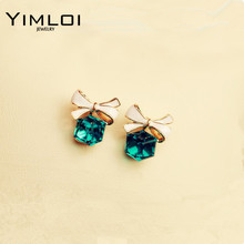 Green Kiss Fashion 2017 Chic Shimmer Plated Gold Bow Cubic Crystal Earrings Rhinestone Stud For Women E318