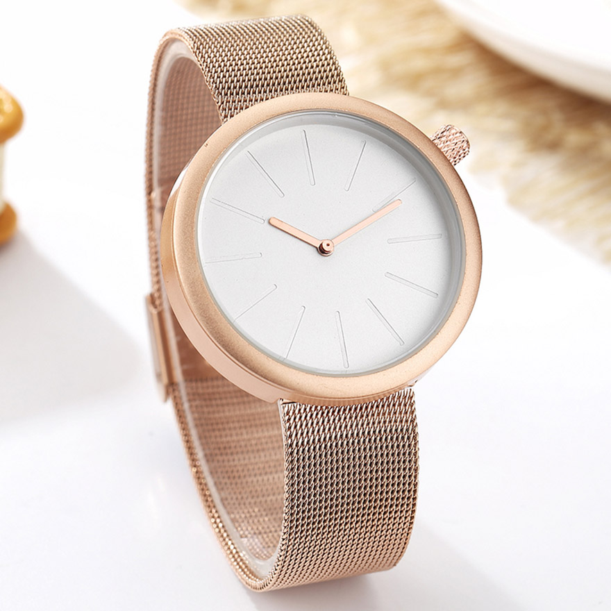 Couple Watch Men Women Minimalist Turntable Numbers Dial Wristwatch Fashion Stainless Steel Rose Gold Female Clock for Lovers