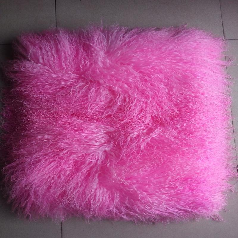 Véritable oreiller De fourrure De mongolie rose couvre oreillers décoratifs fourrure housse De coussin canapé coussins décor à la maison Capa De Almofada Funda Cojin