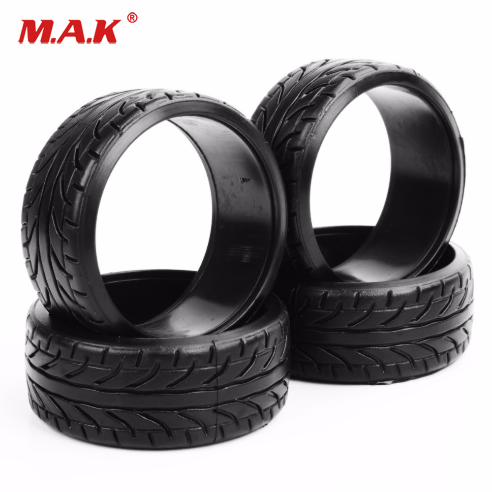 1:10 Scale 4Pcs Rubber Flat Drift Tires Racing Set RC On- Road Tyre For HPI Car HSP PP0292