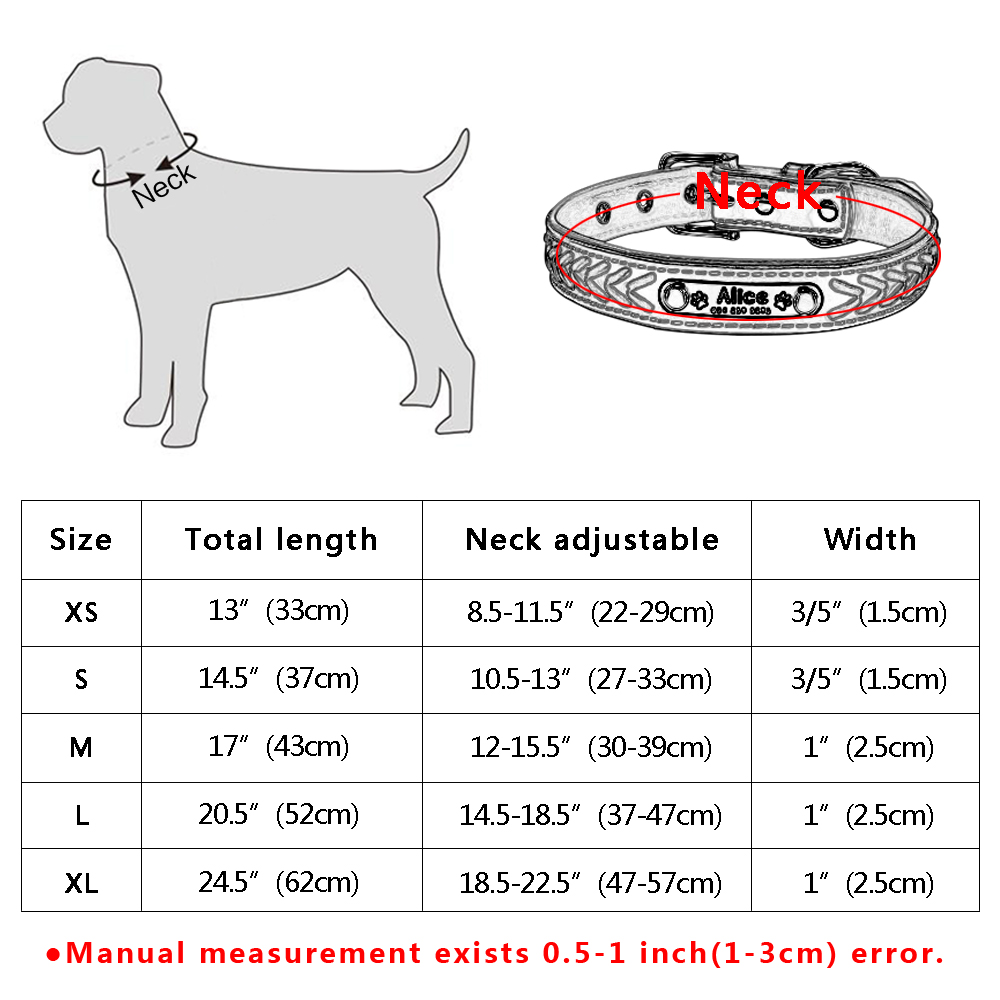Custom Leather Dog Collar Personlig Graveret Puppy Cat Dog Tag krave - Pet produkter - Foto 6