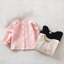 Блузка для маленьких девочек; Детские хлопковые рубашки в складку; весенне-осенняя одежда для маленьких принцесс; Детские топы с длинными рукавами для малышей