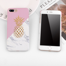 Luxury Phone Case For iphone 7 Case Geometric Splice Gold Amazon Pineapple Pattern Marble Cover Cases For iphone 8 7 6 6s Plus SE 5 5s