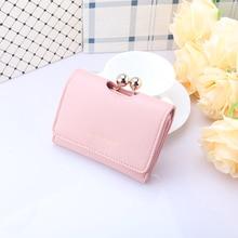 Купить с кэшбэком  2 Colors Fashion Folded Hasp Women Wallets Small Lovely Women's Purse Short PU Leather Ladies Wallet Card Holder