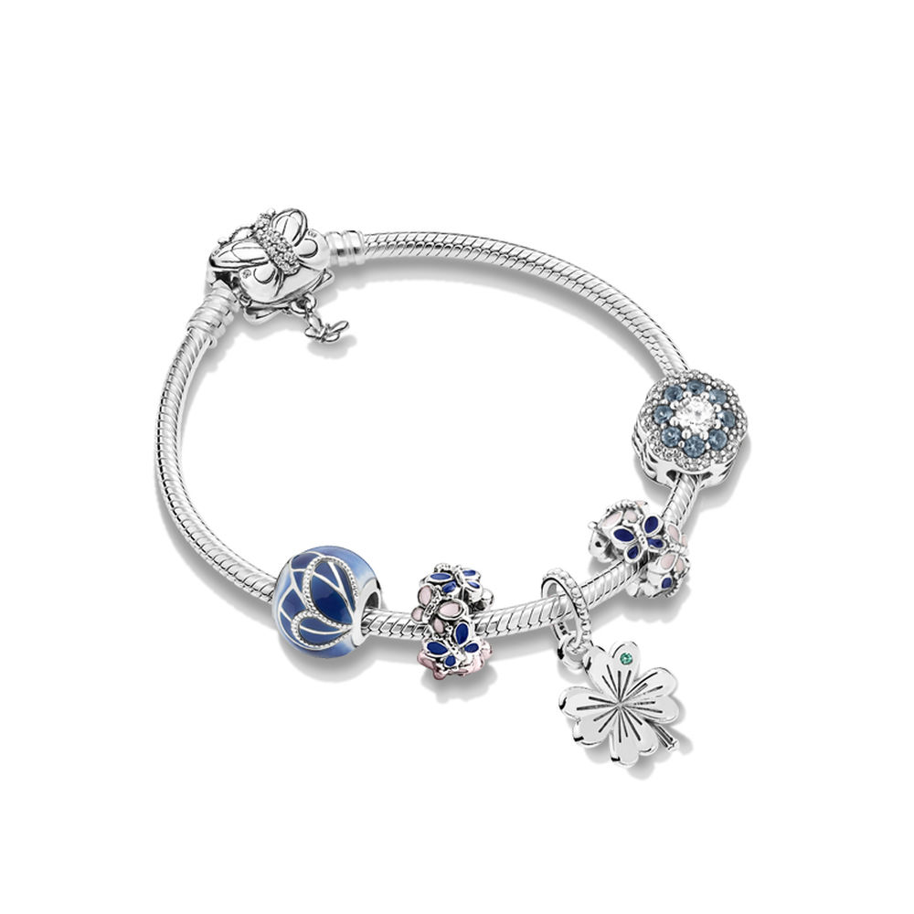 2019 Authentic 925 Silver Blue Moments Silver Bracelet with Decorative Butterfly Clasp Bracelet Fit DIY Jewelry mothers day gif2019 Authentic 925 Silver Blue Moments Silver Bracelet with Decorative Butterfly Clasp Bracelet Fit DIY Jewelry mothers day gif