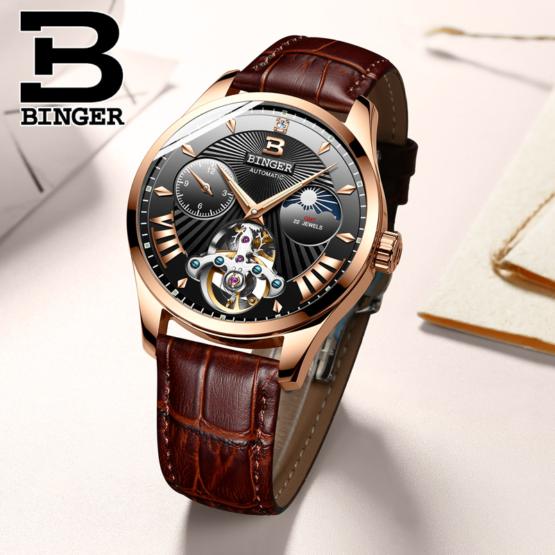 New Switzerland Auto Mechanical Watch Men Binger Role Luxury Brand Men Watches Skeleton Sapphire Male Clock Waterproof B-1186-8