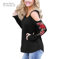Women Clothes Spring T Shirt 2017 Floral Embroidery Off Shoulder Shirts Hollow Out Long Sleeve Sexy