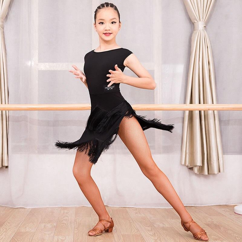Ballroom Sleeveless Tassel Placketing Latin Dance One-piece Dresses For Little Girl/children , Costume Performance Wears G3110