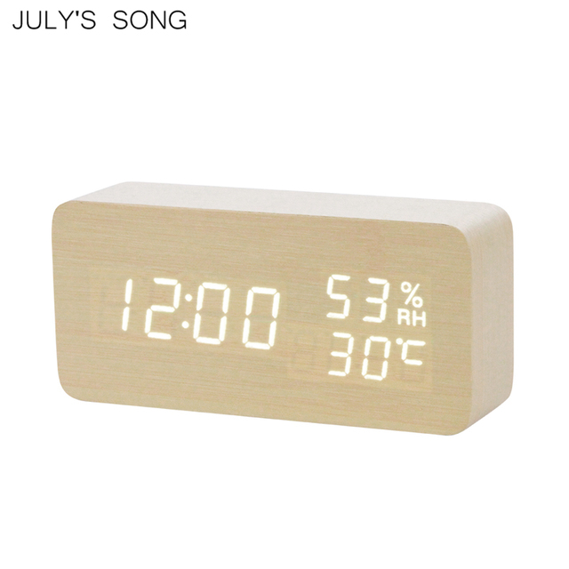 JULY'S SONG Wooden LED Alarm Clocks Temperature Humidity Electronic Watch Table Sounds Control Digital Desktop Night Light Clock
