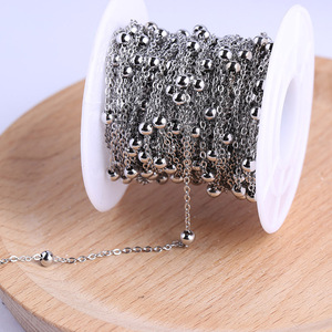Image 1 - Onwear 10 מטר/גליל נירוסטה כדור חרוזים שרשרת מחרוזת שרשרת עבור תכשיטי ביצוע diy אביזרים