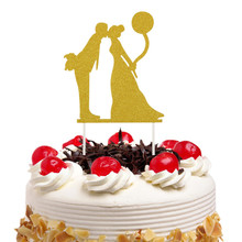 Cake Toppers Flags Mr Mrs Just Married Kids Happy Birthday Glittler Cupcake Topper Wedding Bride Groom Party Baking DIY Xmas New