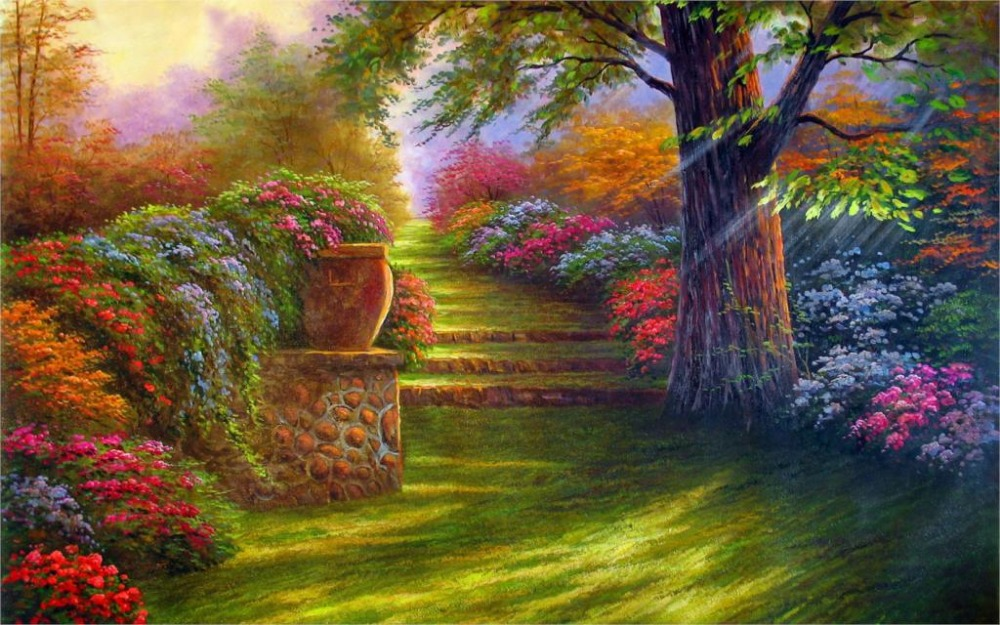 Qunexc 24X36 INCH / ART SILK POSTER / Painting Garden Flower Road Steps  Nature Tree Landscape In Painting U0026 Calligraphy From Home U0026 Garden On  Aliexpress.com ...