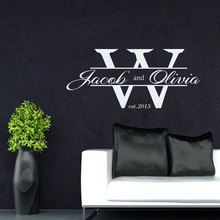 Personalizable nombre W letra patrón vinilo aplique de pared niño niña habitación decoración de aniversario mural decoración del hogar papel tapiz DZ33