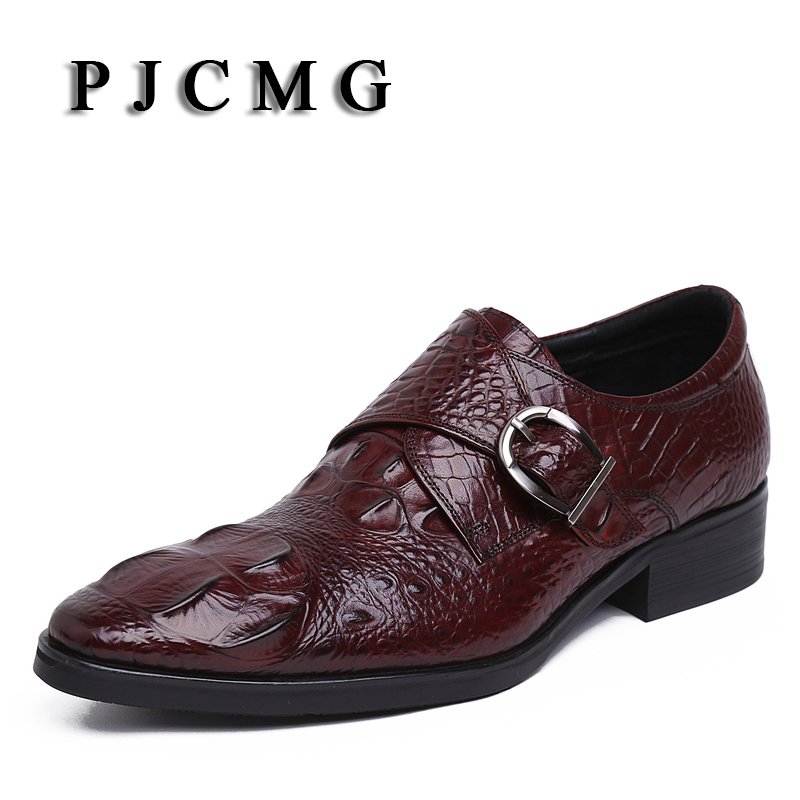 PJCMG New Black/Red Men's Crocodile Pattern Genuine Embossed Leather Pointed Toe Slip-On Cowhide Casual Flat Oxford Men Shoes pjcmg new black red mens oxfords crocodile pattern slip on pointed toe genuine leather business formal men wedding shoes