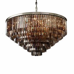 Image 4 - American Multi layer Crystal chandeliers light Hanging Light LED Chrome body Round  Living Room Sitting Retro Dining chandelier