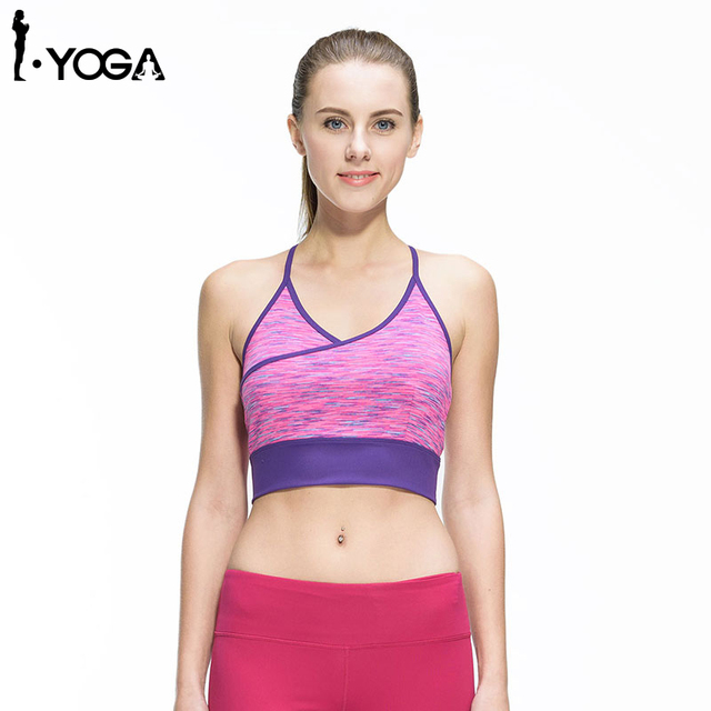 121ed4b642 Women Fitness Sexy Yoga Running Sports Gym Athletic Top Bra Breathable  Padded Stretch Push Up Underwear Sports Bra