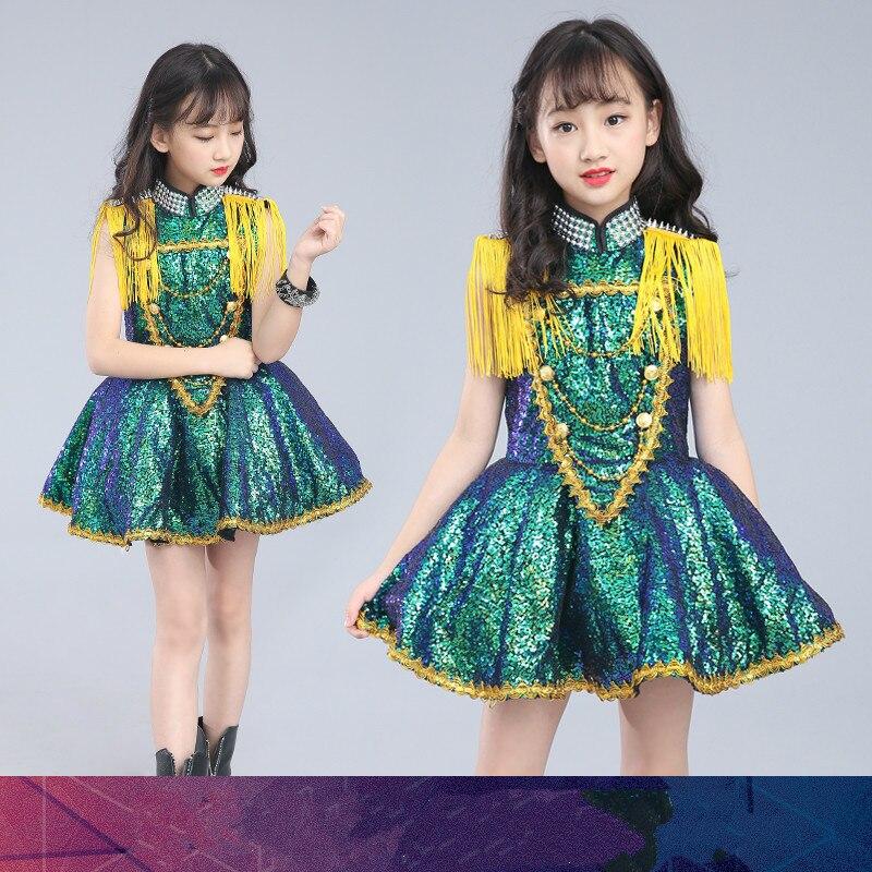 New Children s Jazz Dance Costume Girl Siamese Skirt Fringed Sequin Model Drum Performance Stage