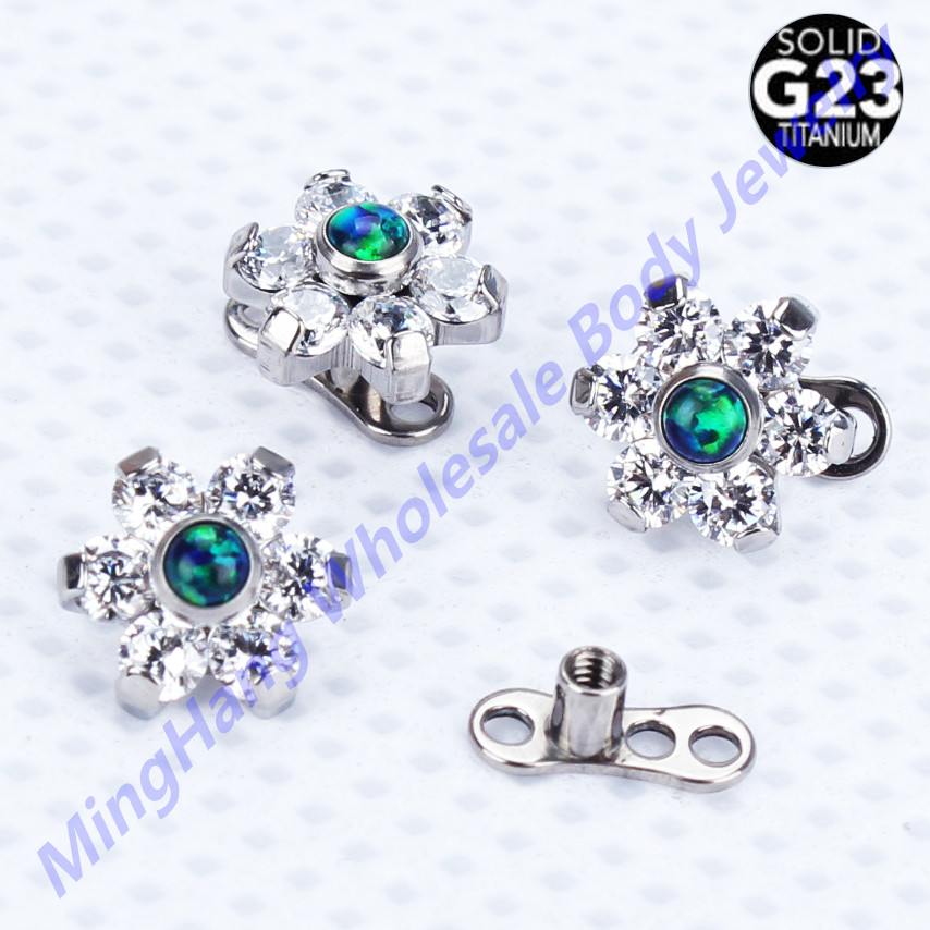 G23 Titanium Body Jewelry Piercing Micro Dermal Anchor with Jeweled Flower Tops