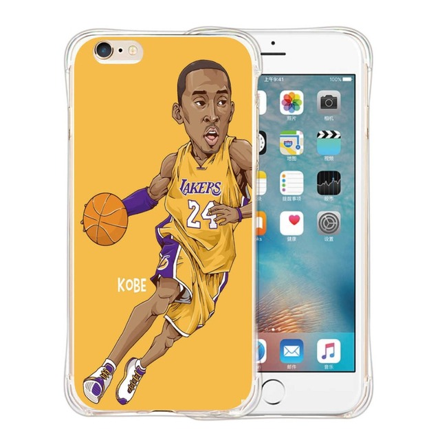 Hot New Fundas NBA Basketball Star KOBE James Pattern Phone Cover for iPhone6 6s 55s 7 PlusCase Silicone Soft TPU Gel Capa Coque