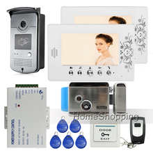 New Wired 7″ RFID Access Video Door Phone Intercom With Electronic Lock + 2 White Monitors + 1 Waterproof Camera FREE SHIPPING