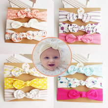 3Pcs/Set handmade cotton rabbit ear hair bands fashion kids headband dots headwear flower bowknot hair band accessories turban