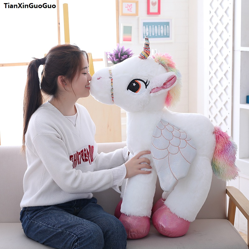 stuffed plush toy large 90cm lovely unicorn plush toy cartoon unicorn with wings ,soft doll hugging pillow Christmas gift s2091 cartoon glasses panda in yellow cloth large 70cm plush toy panda doll soft pillow christmas birthday gift x031