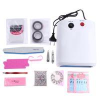 Pro 14 pz Nail Art Kit di Strumenti 36 W UV GEL Lampada UV Gel Polish File Adesivi Nail Art Kit di Strumenti Tagliaunghie Manicure Set