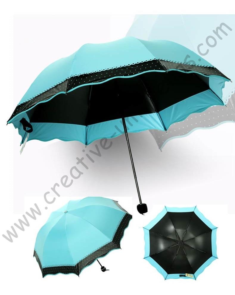 84934863772d 7pc lot colour option summer folding mini sunny umbrella 5 times black  coating Anti-UV Sky Blue two layers lace parasol