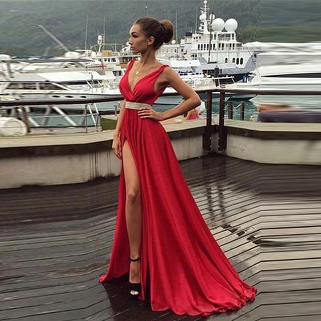bf00da9da1b9f Sexy Deep V Neck Prom Dresses Satin A Line Side High Split Prom Dresses  Long Sweep Train Formal Prom Party Dresses Hot Red Dress