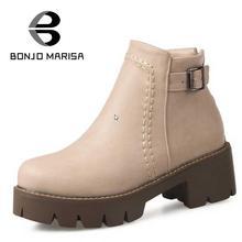 BONJOMARISA Plus Größe 34-43 Vintage Design Chunky Heels Zip Frauen Schuhe Frühling Herbst Im Freien Kleid Plattform Kurze Knöchel stiefel