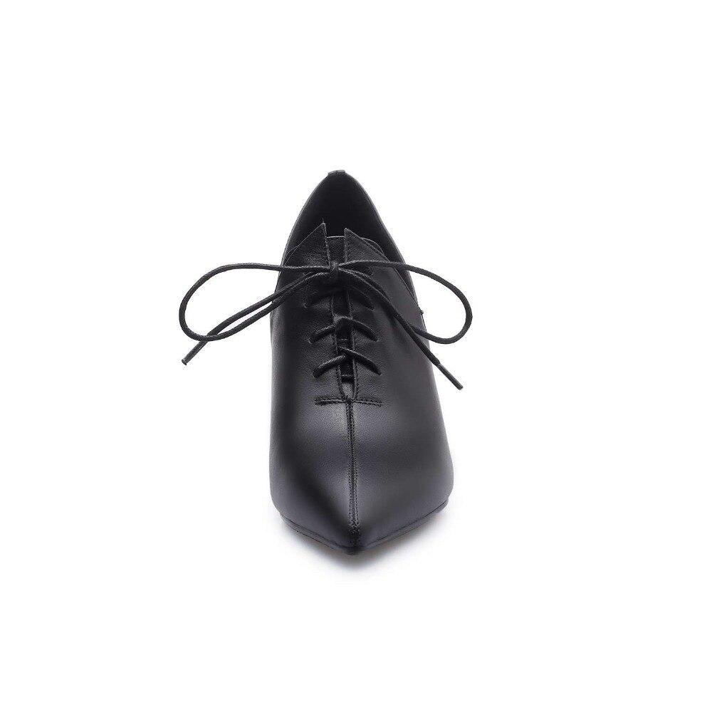 Film Étoiles Lenkisen 2019 Lacets Noir À Naturel Style Britannique Bout Pompes En Cuir De Piste Épais Talons Rencontres Pointu Hauts L08 Chaussures CordBxWe