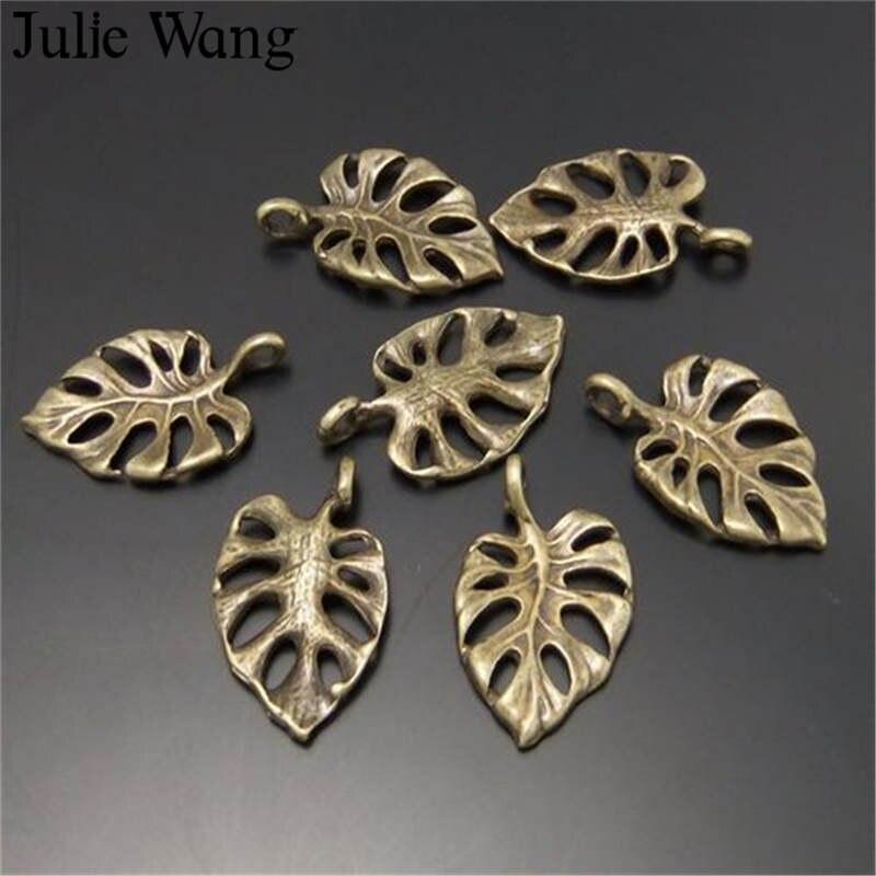 Julie Wang 10-50PCS Oco Folha Charms Alloy Antique Bronze Pequeno deixa Pingente Colar Pulseira Jóias Fazendo Acessório
